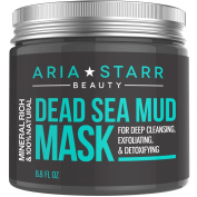 AriaStarrBeauty Dead Sea Mud Mask For Face, Acne, Oily Skin & Blackheads - Best Facial Pore Minimizer, Reducer & Pores Cleanser Treatment - 100% Natural For Younger Looking Skin 260ml