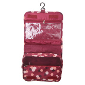 MultiWare Travel Toiletries Bag Toiletries Makeup Organiser Hanging For Ladies Mens Wine Red Flower