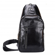 Gendi Men's Magnetic Buckle Genuine Leather Leisure Casual Outdoor Sport Unbalance Chest Pack Sling Shoulder Bag