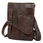 Gendi Mens Genuine Cowhide Leather Alligator Pattern Cross Body / Shoulder / Messenger bag for Kindle Ipad