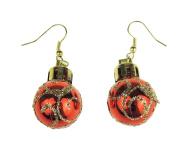 Festive Fun Novelty Christmas Ornament Bauble Drop Earrings Red
