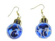 Festive Fun Novelty Christmas Ornament Bauble Drop Earrings Blue