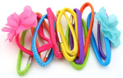 Zest 12 Thick Hair Bands Elastics with Flowers Bright Multi Coloured