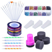 Mudder Nail Arts Kit with Nail Art Brushes, 12 Colours Nail Rhinestones, 2 Way Dotting Pen, Assorted Colours Nail Striping Tape and Gradient Nails Sponge