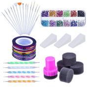 Mudder Nail Arts Kit with Nail Art Brushes, 12 Colours Nail Rhinestones, 2 Way Dotting Pen, Assorted Colours Nail Striping Tape and Gradient Nails Sponge