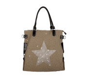 Ladies Star, G6272, XXL Handbag Star Jeans Bag Pocket Rhinestone Application Canvas Antique Look Ladies shoulder bag with stars