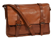 Mens Real Leather Classic Satchel Organiser Casual Work Bag HOL6799 Brown