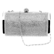 Women Silver Crystal Diamante Evening Clutch Wedding Party Purse Prom Bag