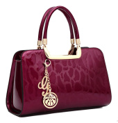 Yan Show Women's New Patent Leather Shoulder Bags Twill Totes Stone Pattern Handbags
