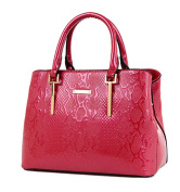 Yan Show Women's Patent Leather Shoulder Bags Crocodile Pattern Totes Stone Pattern Handbags