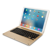 doupi Bluetooth Smart Keyboard for iPad Pro 33cm DE German / Deutsch with protective pouch Foldable like notebook, golden