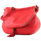 modamoda de - Made in Italy Women's Shoulder Bag Erdbeerrot Large