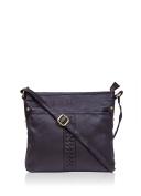 Ladies Luxury Real Leather Plait Detail Leather Shoulder Bag in Brown