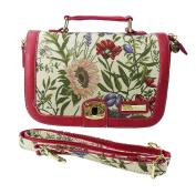 Victoria Tapestry - Nina Satchel Handbag and convertible Shoulder Bag - Wild Flowers