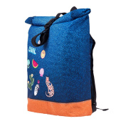 Backpack Courier School Roll-Top Bag Travel Hiking Denim Patche