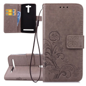ISAKEN Case for Asus Zenfone 2 Laser (ZE500KL) 5.5 – Stylish Non-Slip Bookstyle Flip Wallet Case Cover with Strap / Support Stand / Card Holder / Magnetic Clasp fiori