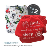 """Baby Tooshy Cloth Nappy Covers with DOUBLE Gussets. Waterproof, Adjustable & Reusable. One Size for Prefolds/ Flats/ Inserts. Set has 1 Embroidered """"Cloth on my bum..."""" & 1 Patterned Cover. Huggybear"""
