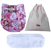 Baby Cloth Nappies with Bamboo Cloth Nappy Inserts and Waterproof Portable Bag 3in1
