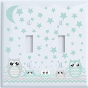 Double Toggle Grey and Seafoam Green Owl Light Switch Plate Covers / Owl Nursery Decor
