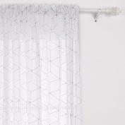Deconovo Decorative Sheer Curtains Rod Pocket Rhombus Black Linen Look Curtains For Kids 52W x 95L Inch 1 Panel