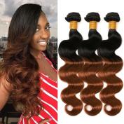 GEFINE Hair 7A Soft Brazilian Virgin Hair Human Hair Extensions Ombre Two Tone #1B/#30 Brazilian Body Wave 3pcs Hair Weaves 14 14 36cm