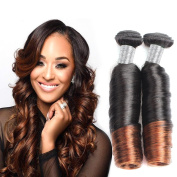 Allove Hair 8A Brazilian Ombre Spring Curl Weave Human Hair 3 Bundles(12 14 16) Virgin Romance Bouncy Curls Human Hair Weave Unprocessed Funmi Hair Extensions Ombre Colour 1B#-4#