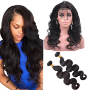 ALI AMY Brazilian Virgin Human Hair Bundles 2pcs + 360 Lace Frontal Closure Body Wave with Natural Hairline for Black Women Natural Colour
