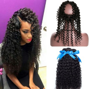 GEFINE Hair Pre Plucked 360 Lace Frontal Closure with Bundles Peruvian Virgin Hair Curly Weave Wave Human Hair with 360 Closure Free Part Bleached Knots With Baby Hair 24 24 24+50cm