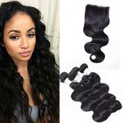 BeautyGrace 7A Body Wave Hair with Closure Peruvian Body Wave Weaving Hair 3 bundles with 4x4 Closure  .