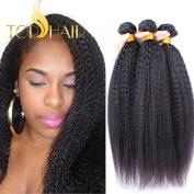 Top Hair Brazilian Virgin Kinky Straight Hair Weave 1 Bundle Italian Yaki Human Hair Extensions Can Be Dyed Natural Colour - Natural Black, 60cm