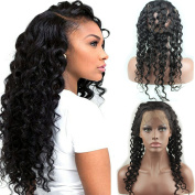 Dreambeauty 360 Lace Band Frontal Deep Wave Remy Human Hair 360 Lace Closure with Baby Hair Natural Colour for Women