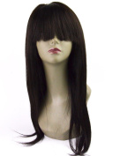 LiLi Beauty 46cm Straight Glueless Full Lace Human Hair Wigs with Bang