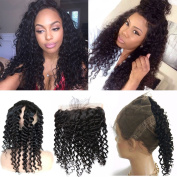 Youth Beauty Peruvian Virgin Human Hair 360 Lace Band Frontals Loose Deep Wave 360 Degree Circular Full Frontal Closure Natural Hairline Baby Hair for Black Woman 36cm