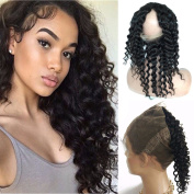 Youth Beauty Peruvian Virgin Human Hair 360 Lace Band Frontals Loose Deep Wave 360 Degree Circular Full Frontal Closure Natural Hairline Baby Hair for Black Woman 25cm