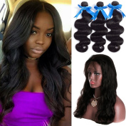 "GEFINE Hair 8A grade 100% Virgin Brazilian Human Hair 3 Bundles With 360 lace Frontal closure body wave 60cm x 10cm x 2"" 360 degree Natural Hairline free part lace frontal 16 16 16+36cm"