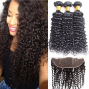 Guangxun Company Deep Curly Wave Mink Virgin Hair 3 Bundles With 13x4 Free Part Lace Frontal Closure Unprocessed Black Human hair Extensions