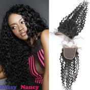 Rossy & Nancy 7A Brazilian Water Wave Lace Frontal Closure Piece 5x 5 Virgin Human Hair Closure Bleached Knots Free Part with Baby Hair for Women 41cm