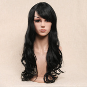 Secretgirl Long Wavy Black Wig for Women Natural Curly Hair Synthetic Cosplay Party Wigs