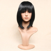 Secretgirl Shot Bob Black Wig with Bangs Natural Hair Full Head Wig for Women Costume Party