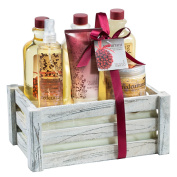 "Antique vintage distress white wood crate perfumed ""Redcurrant"" bath & body gift set! Non alcohol"
