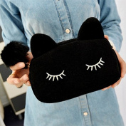 Sleepy Kitty Cat Clutch Handbag Purse Makeup Bag Cute Kawaii K-Wave Cosmetic Pouch Kitten Fashion