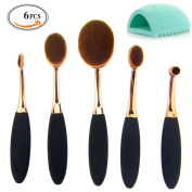 MLMSY Professional 5 piece Set Gold Toothbrush Oval Makeup brush Cosmetic Eye Shadow Powder Foundation Blush Eyeliner Eyebrow Face brush Brush 1pcs Cleaning Glove MakeUp Brush Washing Egg