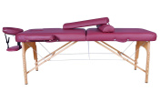 BestMassage Burgundy Professional Series Portable Massage Table w/2 Half Bolster