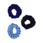 Set of 3 Braided Hair Scrunchies Pony Holders for Women and Girls - Blues
