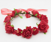 Merroyal Rose Flower Hair Crown Wreath Headband Headdress with Adjustable Ribbon for Weddings Festivals