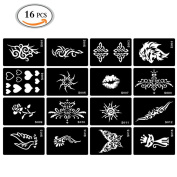 OR Pure 16 PCS Tattoo Drawing Template Temporary Tattoo and Body Painting Premium Template Kit Body Paints Tattoos Template Stickers