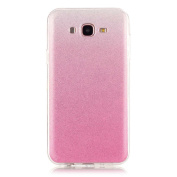 Moonmini Gradient Colour Sparkling Glitter Ultra Slim Fit Soft TPU Phone Back Case Cover for Samsung Galaxy J7 (2015) - Pink