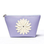 Bestrice Cosmetic Bag Sunflower Trapezoid Portable Handbag/Wrist Bag/Clutch Bag/Cell Phone Bag/ Ladies Purse - Purple
