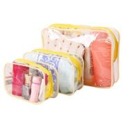Team-Management(TM) 3Pcs Waterproof Transparent Hand Pouch Bag With Zipper For Cosmetic Wash Versatile Storage