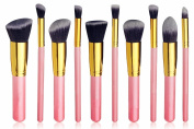 Rioa 10 Pcs Premium Synthetic Kabuki Makeup Brush Set Cosmetics Foundation Blending Blush Eyeliner Face Powder Brush Makeup Brush Kit
